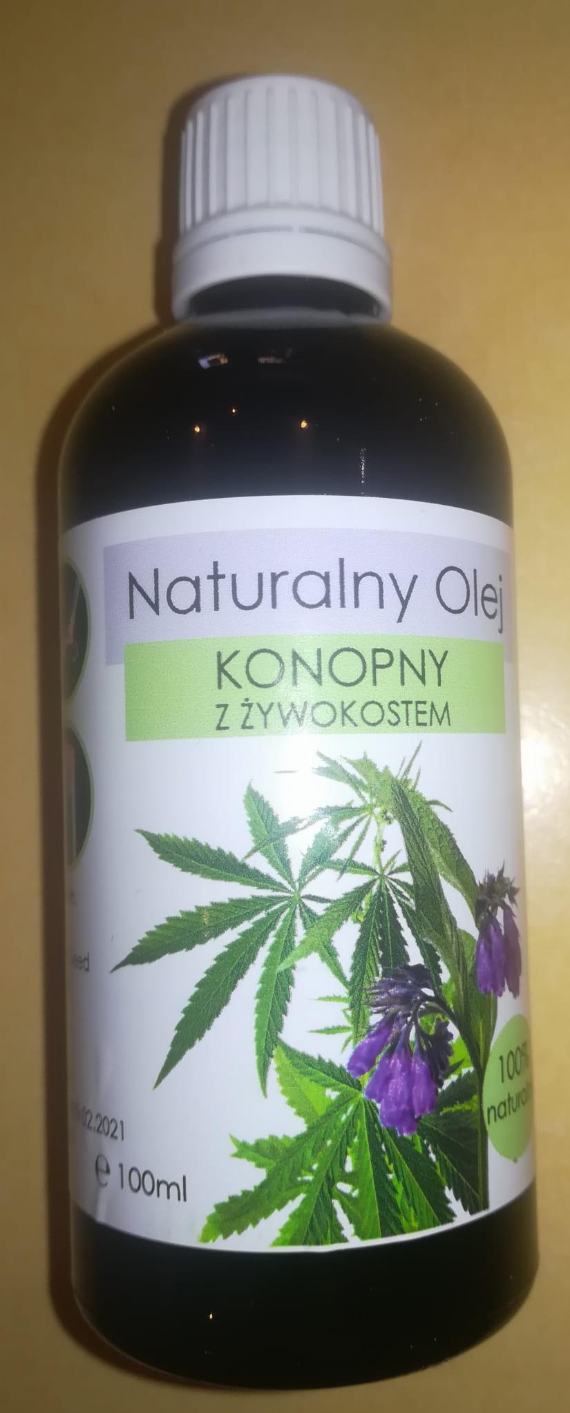 Olej konopny z żywokostem 100% naturalny 100ml PijNoni